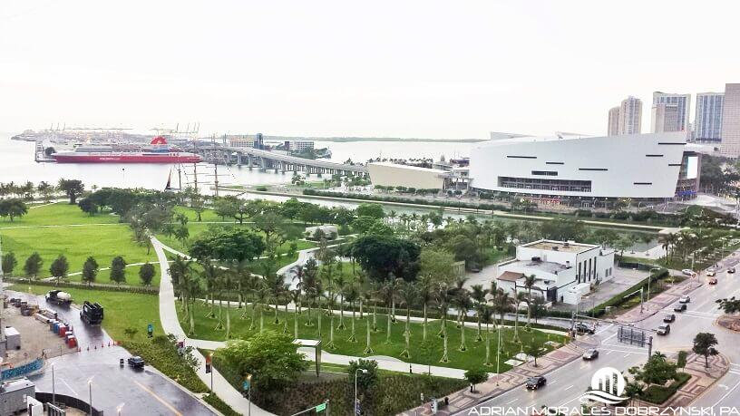 View of Museum Park and the AA arena from 10 Museum Park