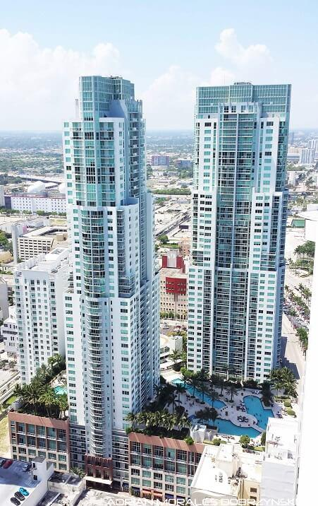 Aerial photo of Vizcayne condos taken from 50 Biscayne penthouse