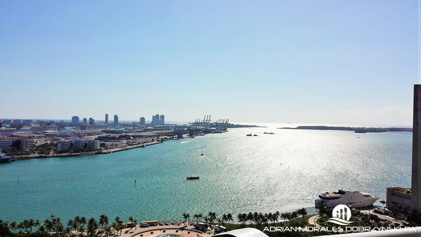 East view of the park, bay and ocean from 50 Biscayne