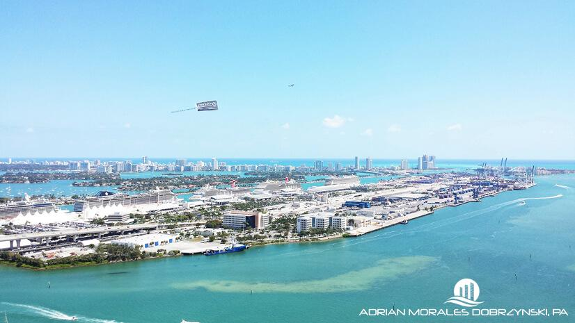 Port of Miami and the ocean seen from 50 Biscayne