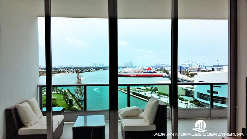 Spectacular views from a 1 bedroom at 900 Biscayne Bay