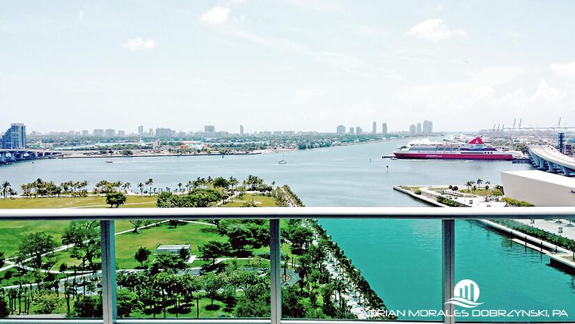 Unobstructed views of Biscayne Bay and Museum Park from 900 Biscayne
