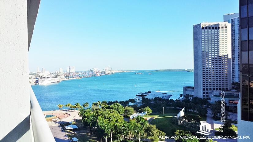 Second bedroom Bayfront Park view from 50 Biscayne condo