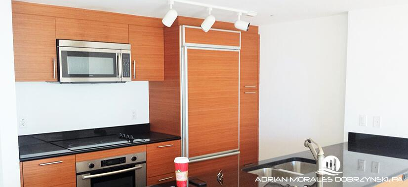 Kitchen finishes in a 1 bedroom at 50 Biscayne