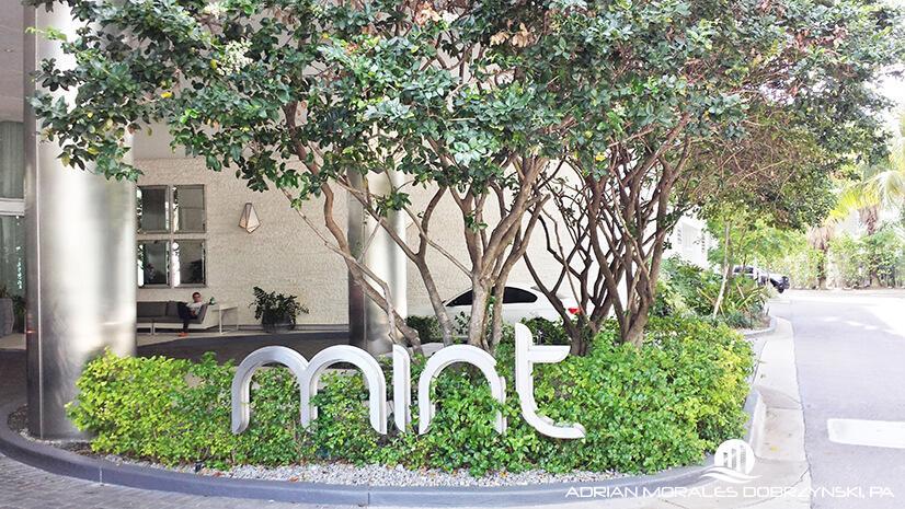 Mint condo entrance at the riverfront community in Miami