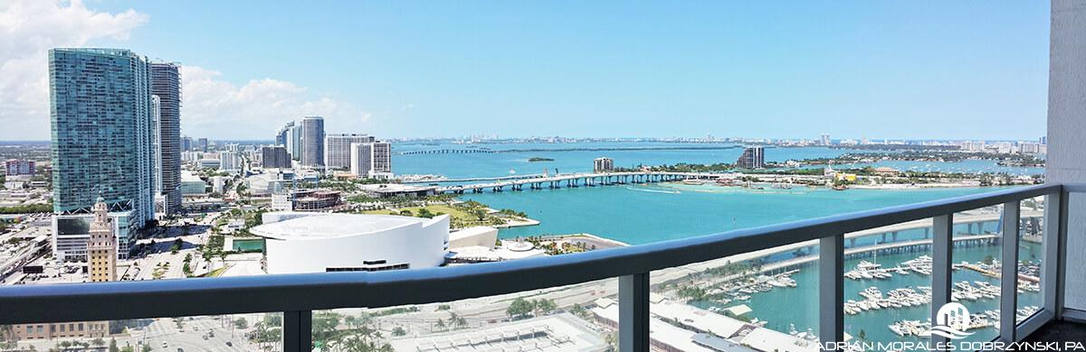 Large balcony at Vizcayne with downtown and edgewater views