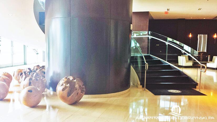 900 Biscayne luxurious bi-level lobby.