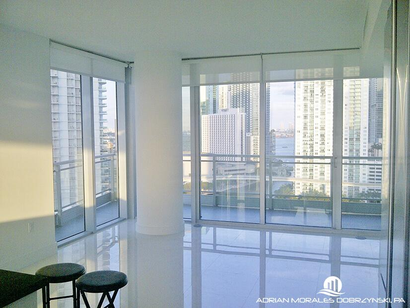 Views of downtown and Brickell from unit at Mint condos