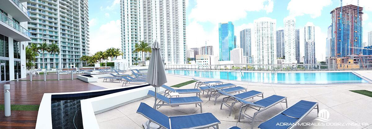 Pool and amenities at the Mint in Downtown Miami