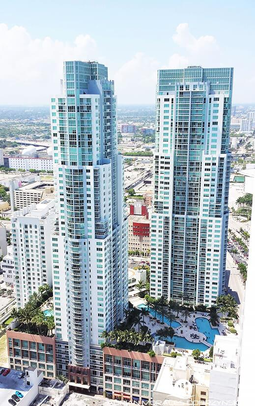 Vizcayne condos seen from a penthouse unit at 50 Biscayne